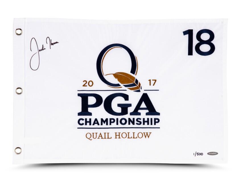 Justin Thomas — 2017 PGA Championship Signed Pin Flag