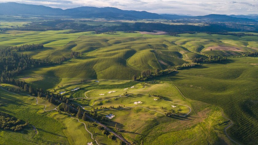 Aerial view of Circling Raven Golf Club in Worley, Idaho