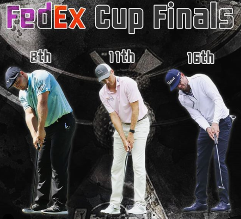 SIK Golf graphic for FedEx Cup finals Bryson DeChambeau, Brendon Todd, Lanto Griffin