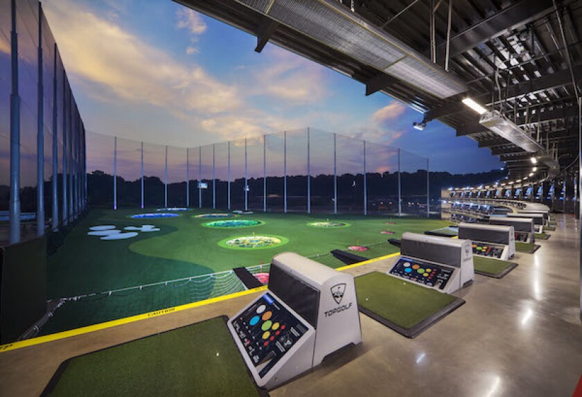 Topgolf's hitting bays and target areas
