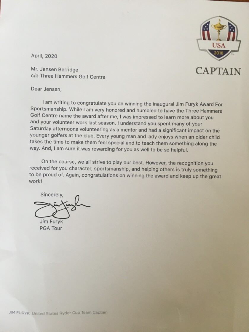 Jim Furyk letter to Jensen Berridge