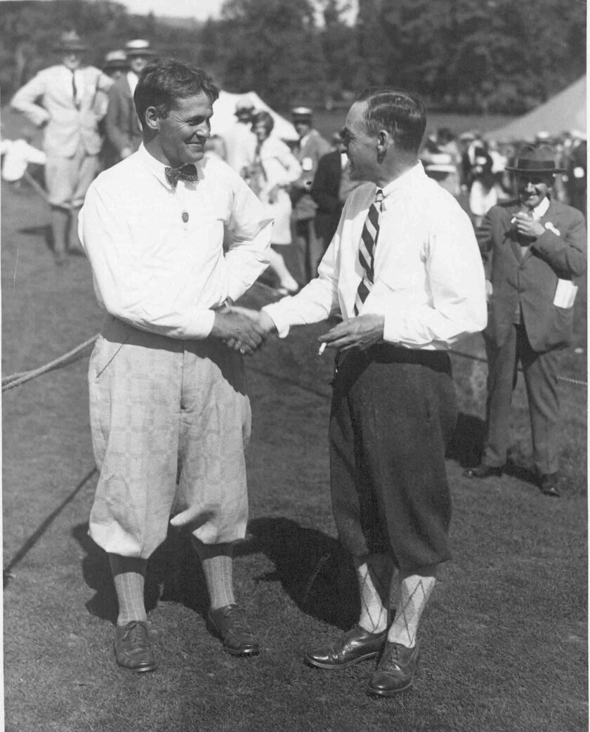 Bobby Jones and Al Espinosa at 1929 U.S. Open at Winged Foot