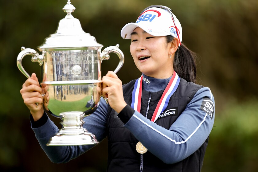 A Lim Kim with trophy for winning 2020 U.S. Women's Open