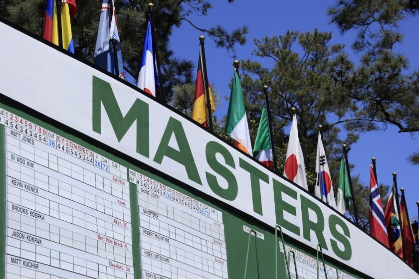 Scoreboard before 2021 Masters