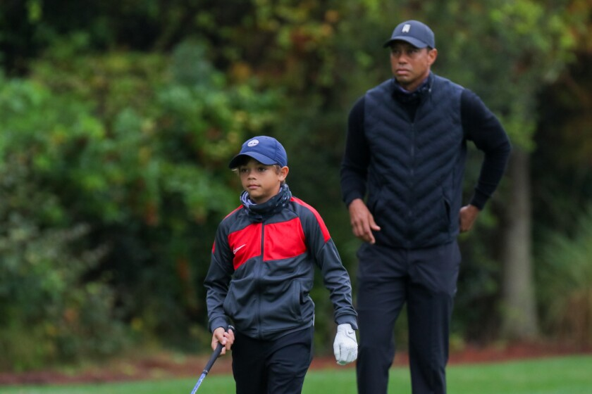 Charlie Woods and Tiger Woods at 2020 PNC Championship