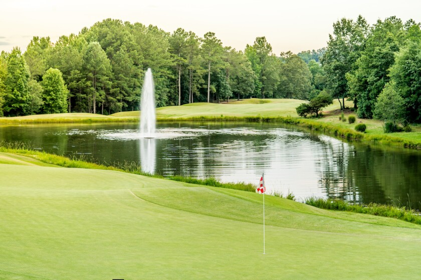18th hole at Cherokee Valley Course and Club in Travelers Rest, S.C.
