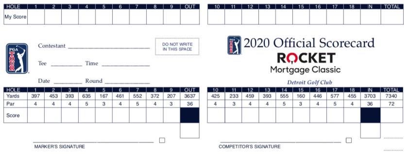 Scorecard for Rocket Mortgage Classic at Detroit Golf Club