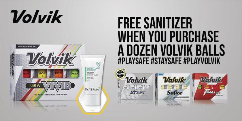 Volvik golf balls hand sanitizer promotion