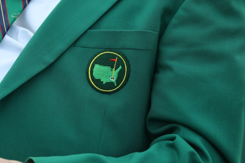 Masters logo on a green jacket