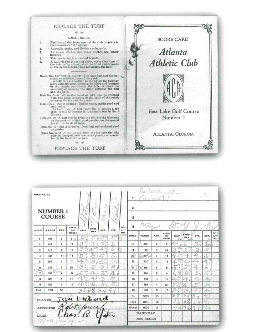 Atlanta Athletic Club 1935 match scorecard