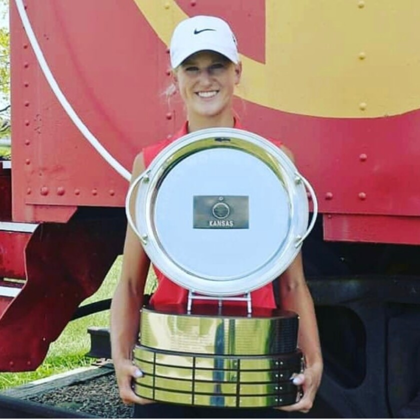 Kate Tilma with the Malcolm DeMille 2020 Kansas Women's Amateur Championship trophy