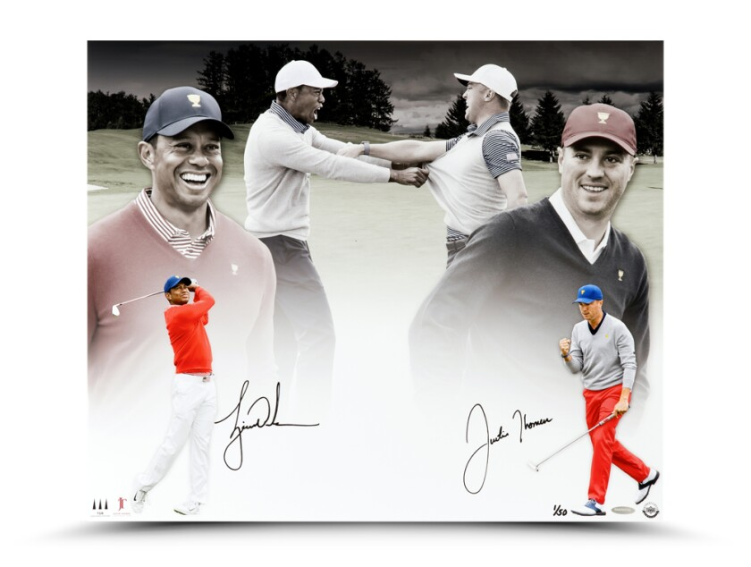 Justin Thomas — Tiger Woods Dual-Signed Print